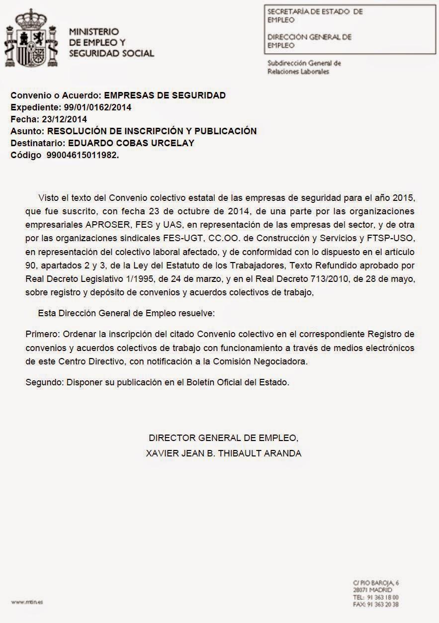 Secci n sindical de cc oo en segur ib rica madrid for Notificacion ministerio del interior