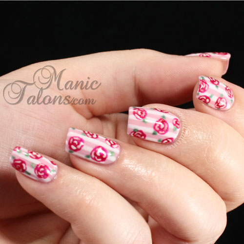 Stripes and Roses manicure, IBD Just Gel, Nail Art