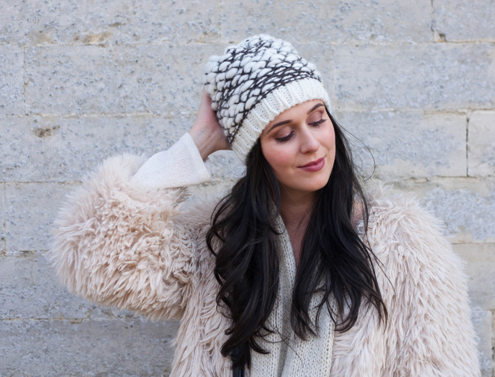 Outfit: cream coloured shaggy faux fur, knit beanie