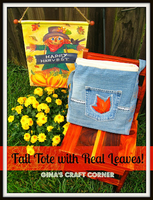 Blue Jean Fall Bag w/ Real Pressed Leaves