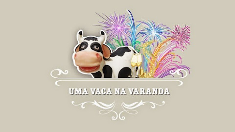 Bom ano de uma vaca na varanda