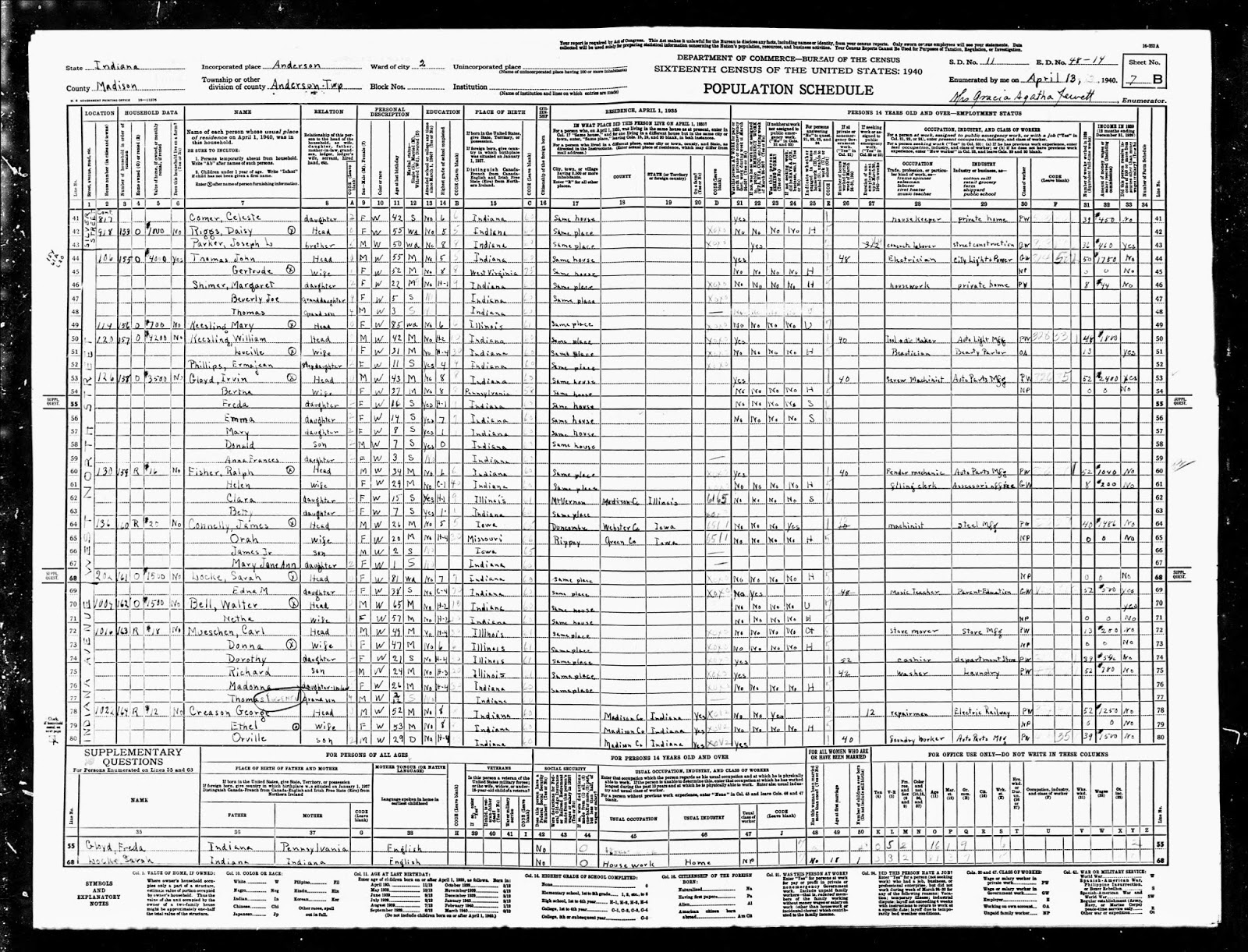 Indiana st joseph county wyatt - 1940 Us Census Madison County Indiana Population Schedule Ward 2 Anderson Enumeration District Ed 48 14 Sd 11 Sheet 7b Household 159
