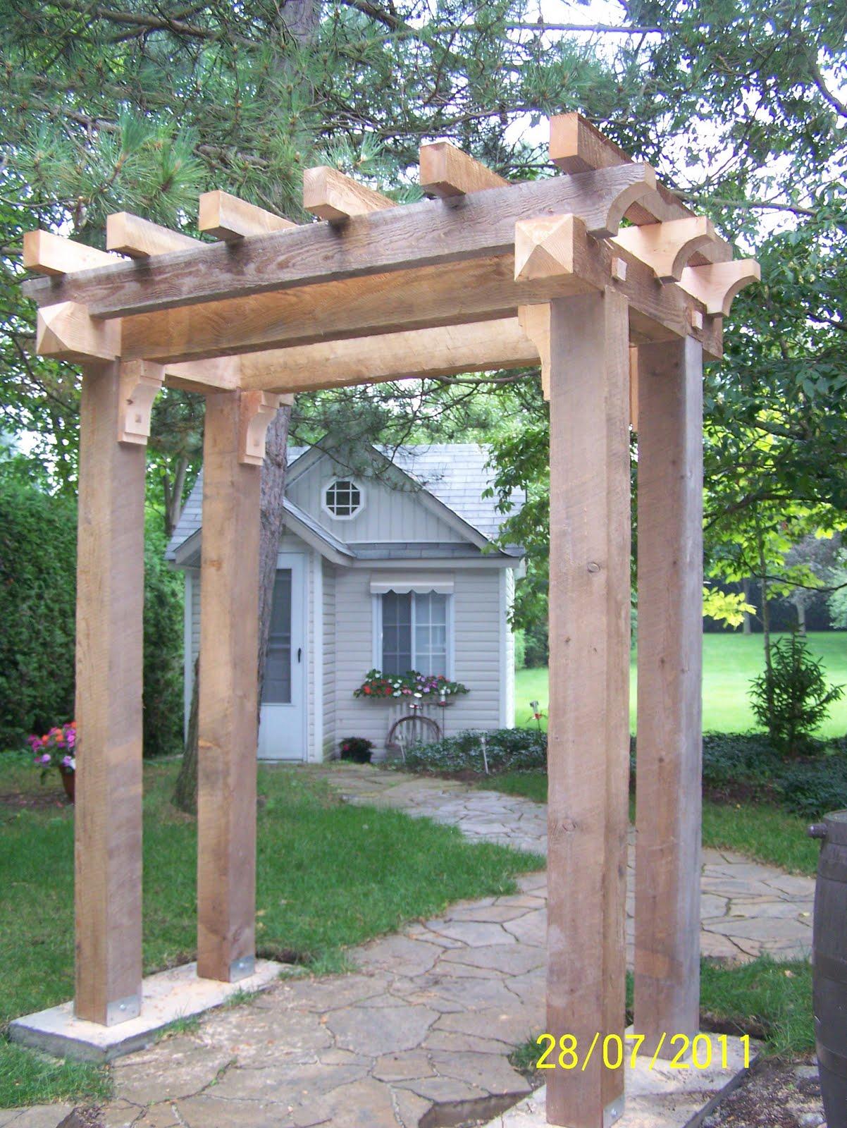 Sawn Timber Pergola ~ Heritage green carpentry timber pergola