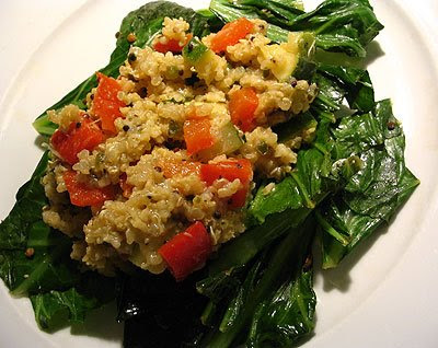 Millet-Quinoa Hash with Peppers and Zucchini on Sautéed Greens