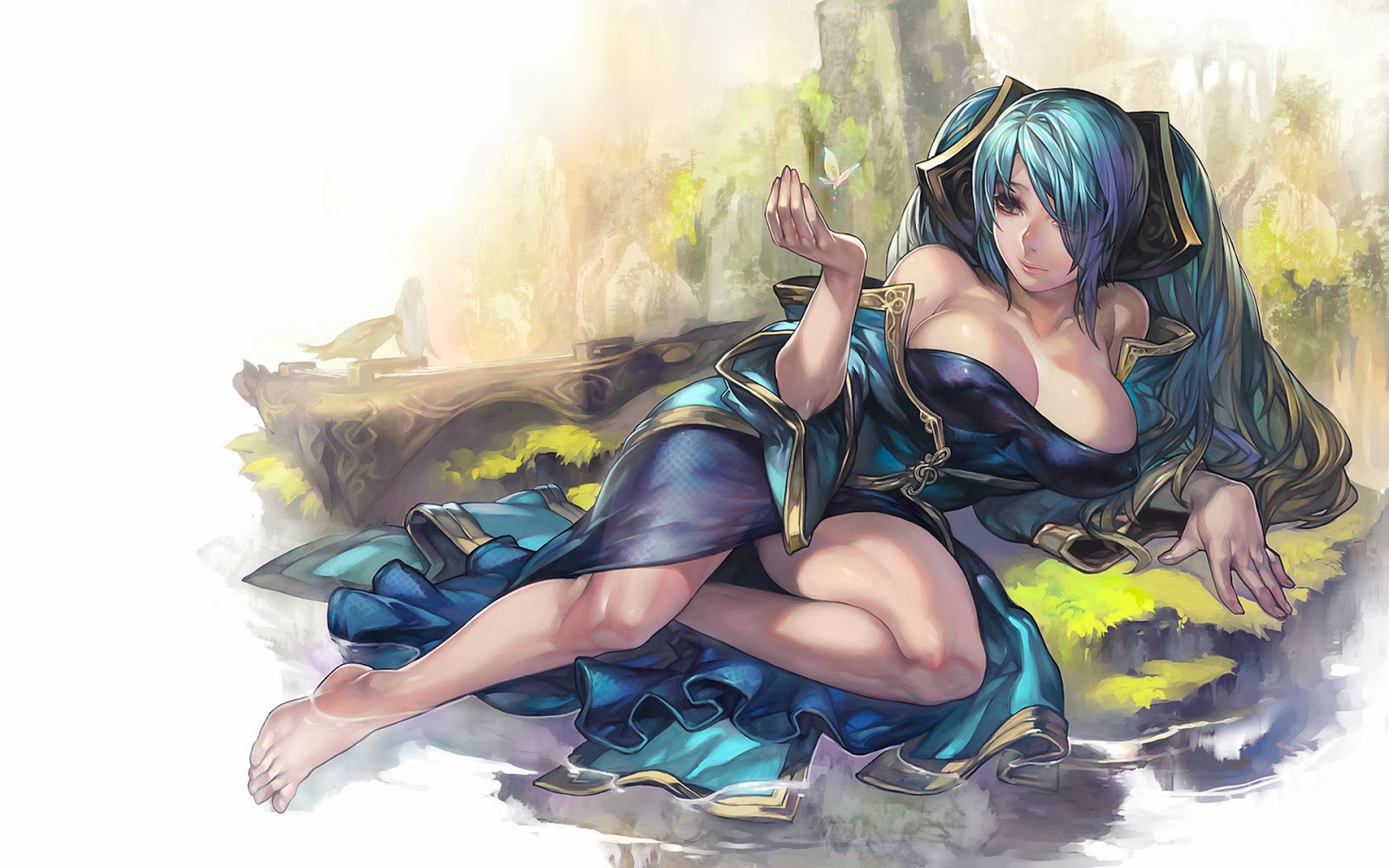 sona lol league of legends sexy cleavge girl champion wallpaper hd 1920x1200 widescreen j9.