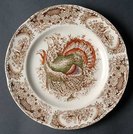 Another version of the Johnson Brothers plate called \ Woodland Turkey.\  & vignette design: Let\u0027s Talk Turkey