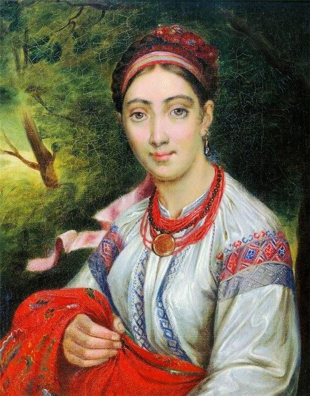 В. Тропинин. Девушка украинка в пейзаже