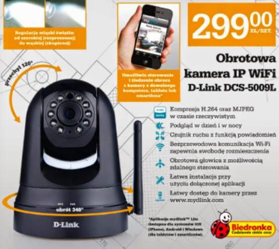 Obrotowa kamera IP WiFi D-Link DCS-5009L z Biedronki ulotka