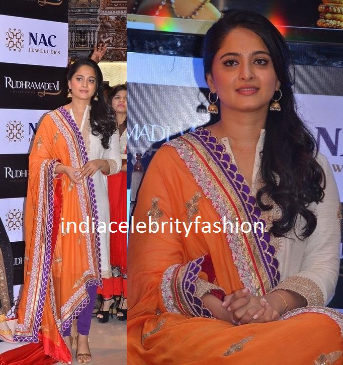 Anushka shetty in Salwar kameez at Rudhramadevi Jewellery Launch
