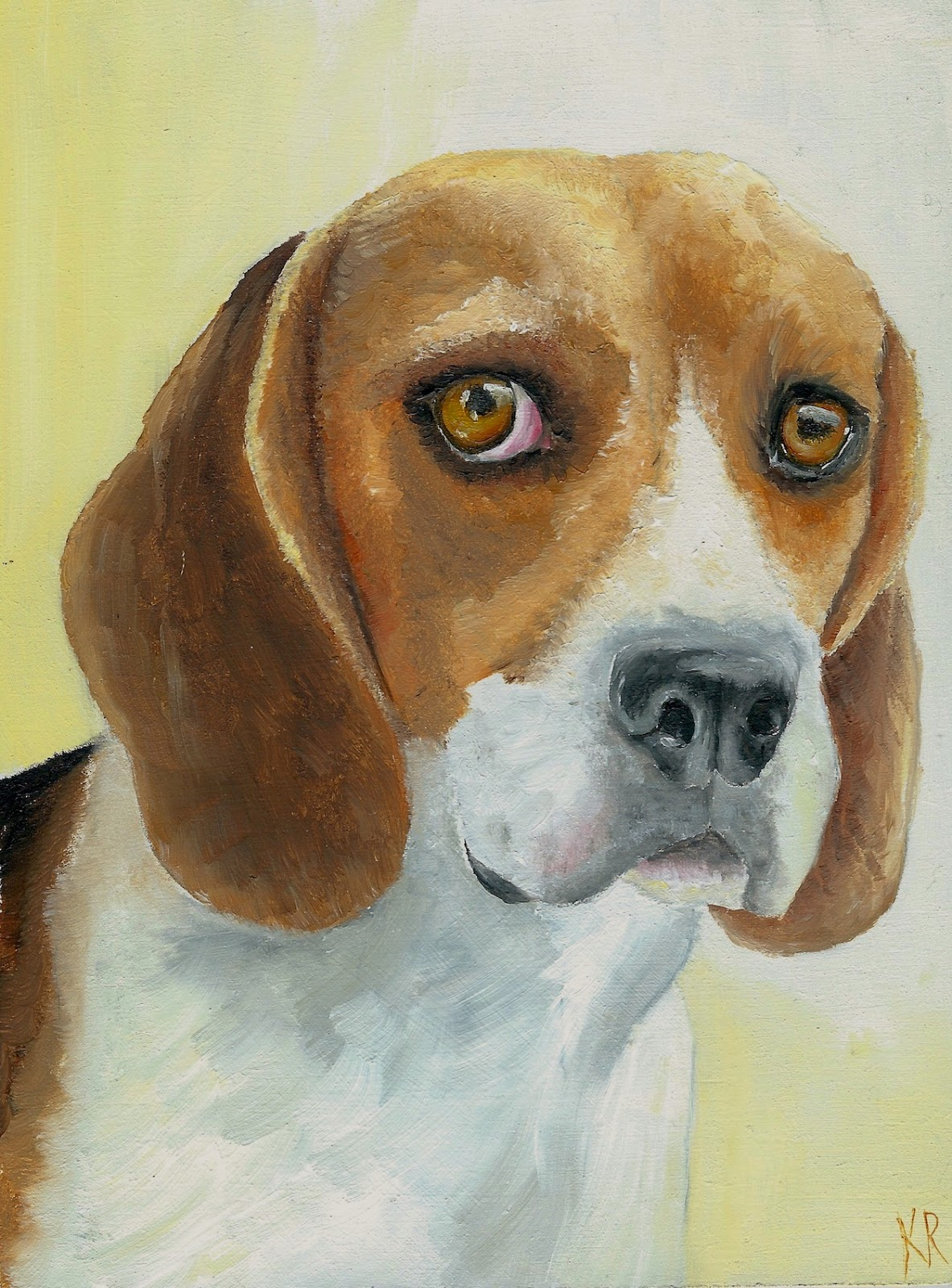 beagle oil painting, dog pet portrait