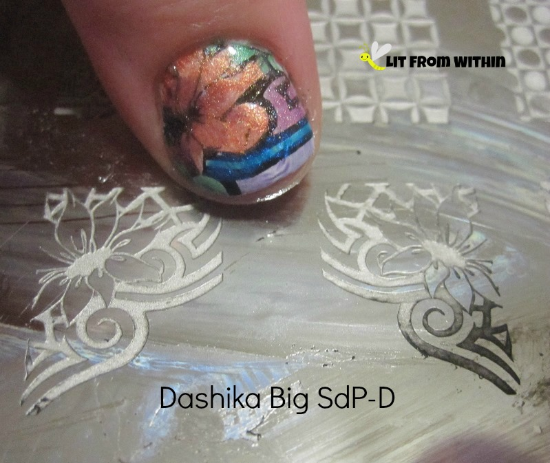 stamped using Cult Nails Nevermore and Dashika Big SdP - D plate