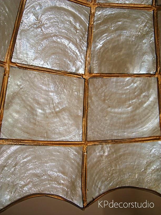 Lámparas de techo de nácar tipo tiffany soldadas a mano, artesanales y en buen estado.