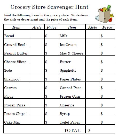 Grocery Store Worksheets | Grocery Shopping on a Budget worksheet ...