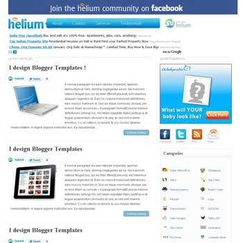Helium Blogger Template. image slider blogger template. 3 column footer template blog