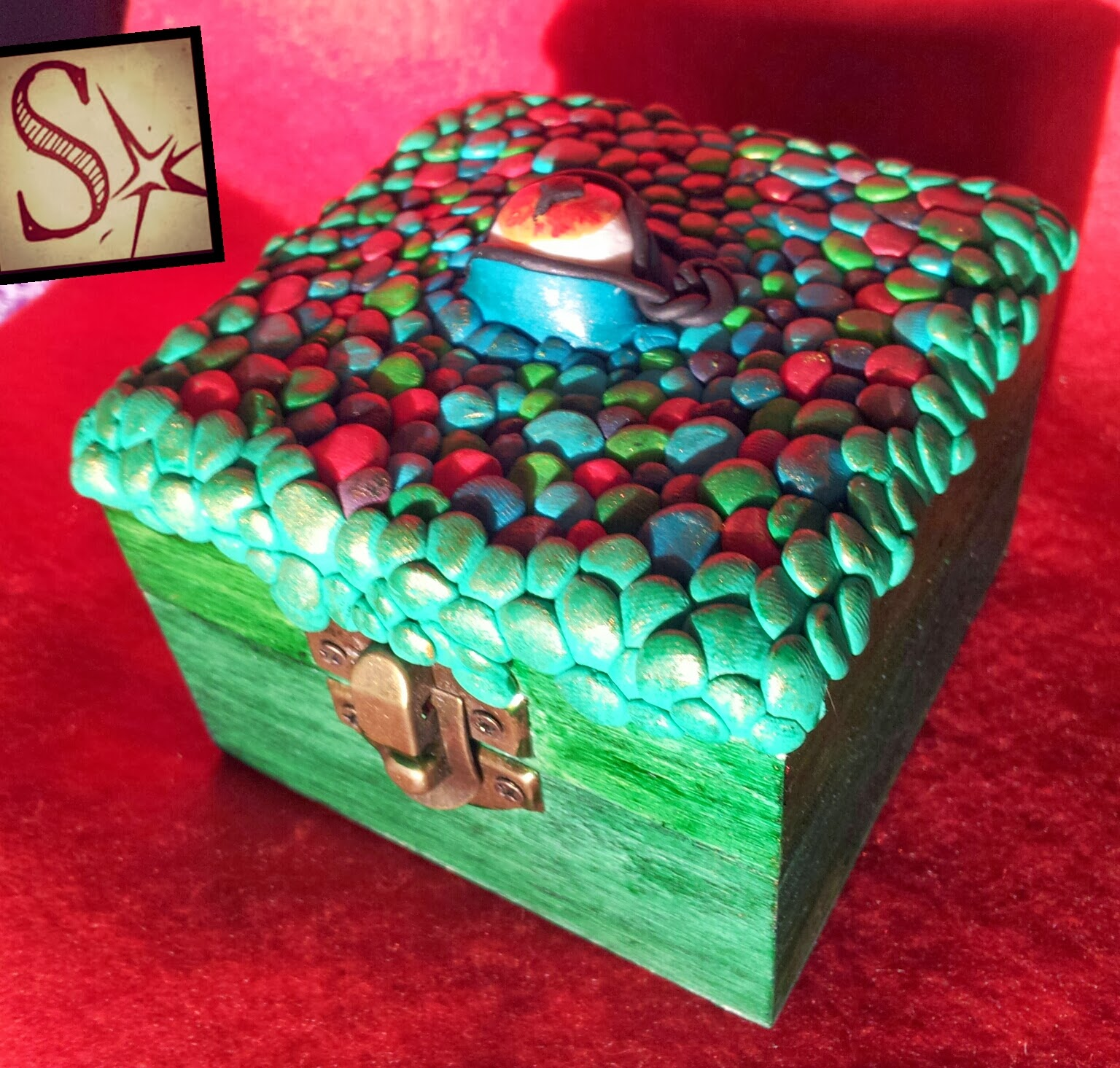 Selerkalart nueva caja decorada ojo de drag n - Pintura dorada para madera ...