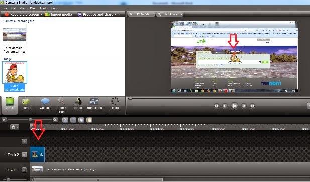 gambar telah berada di dalam track video untuk di edit