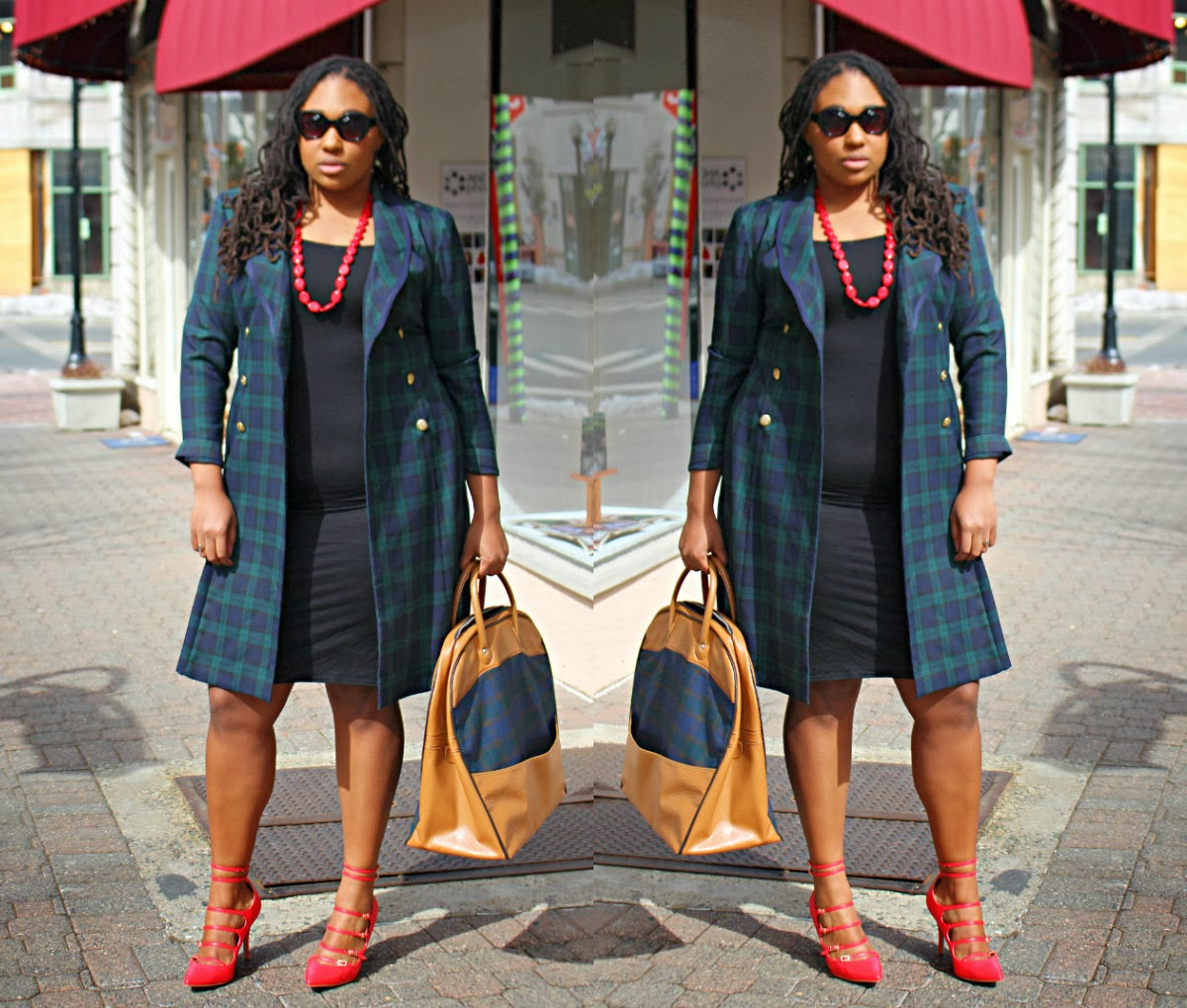 plaid blazer asos dress red shoes