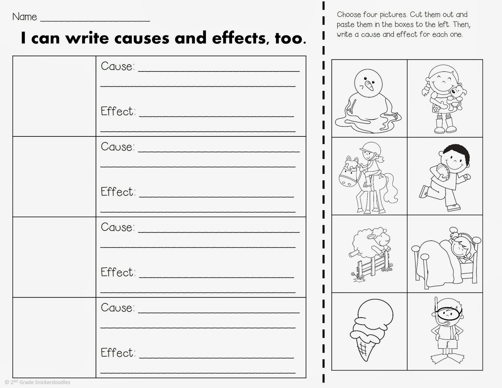 2nd Grade Snickerdoodles Cause and Effect anchor chart mentor – Cause and Effect Worksheets 1st Grade