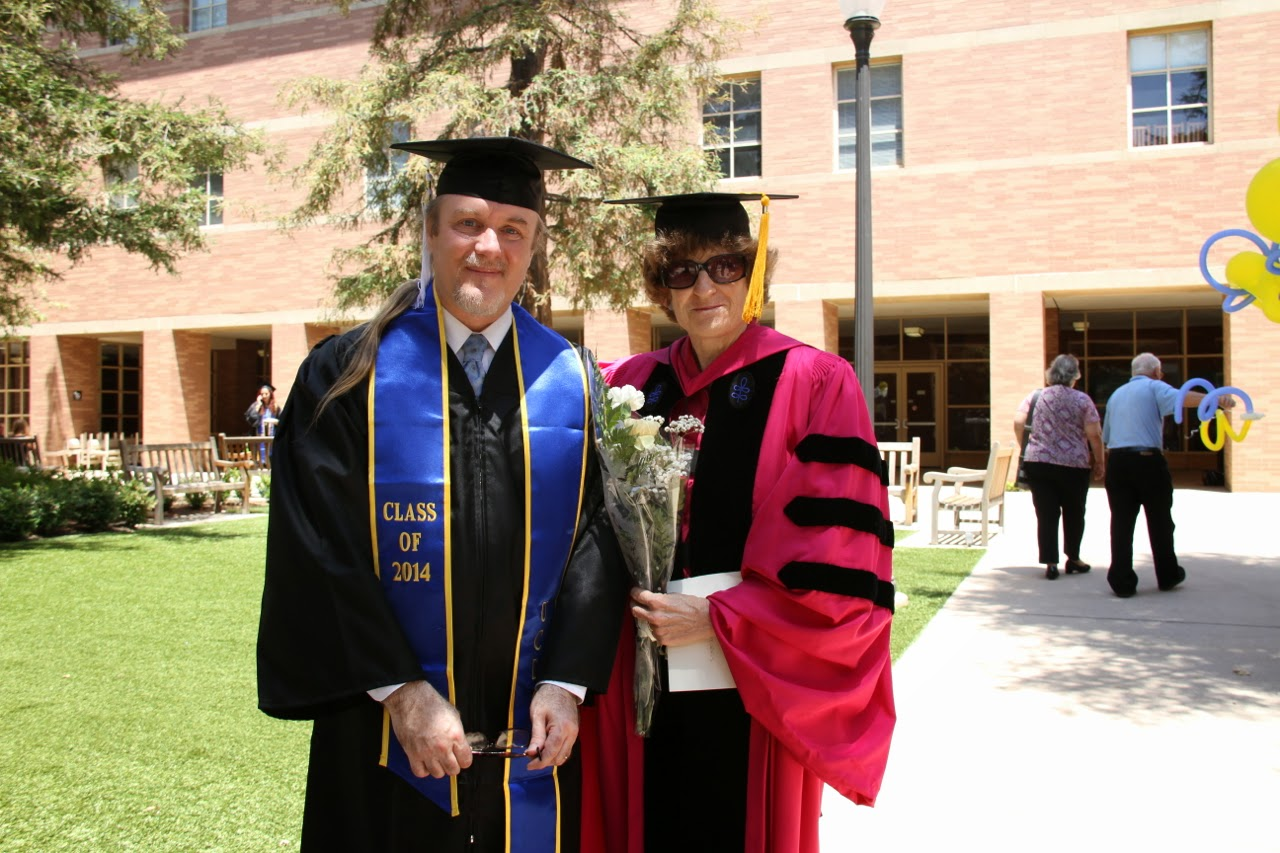 Professor Sarah Morris of UCLA Department of Classics with 2014 Winter Quarter Graduate Robert D. Skeels