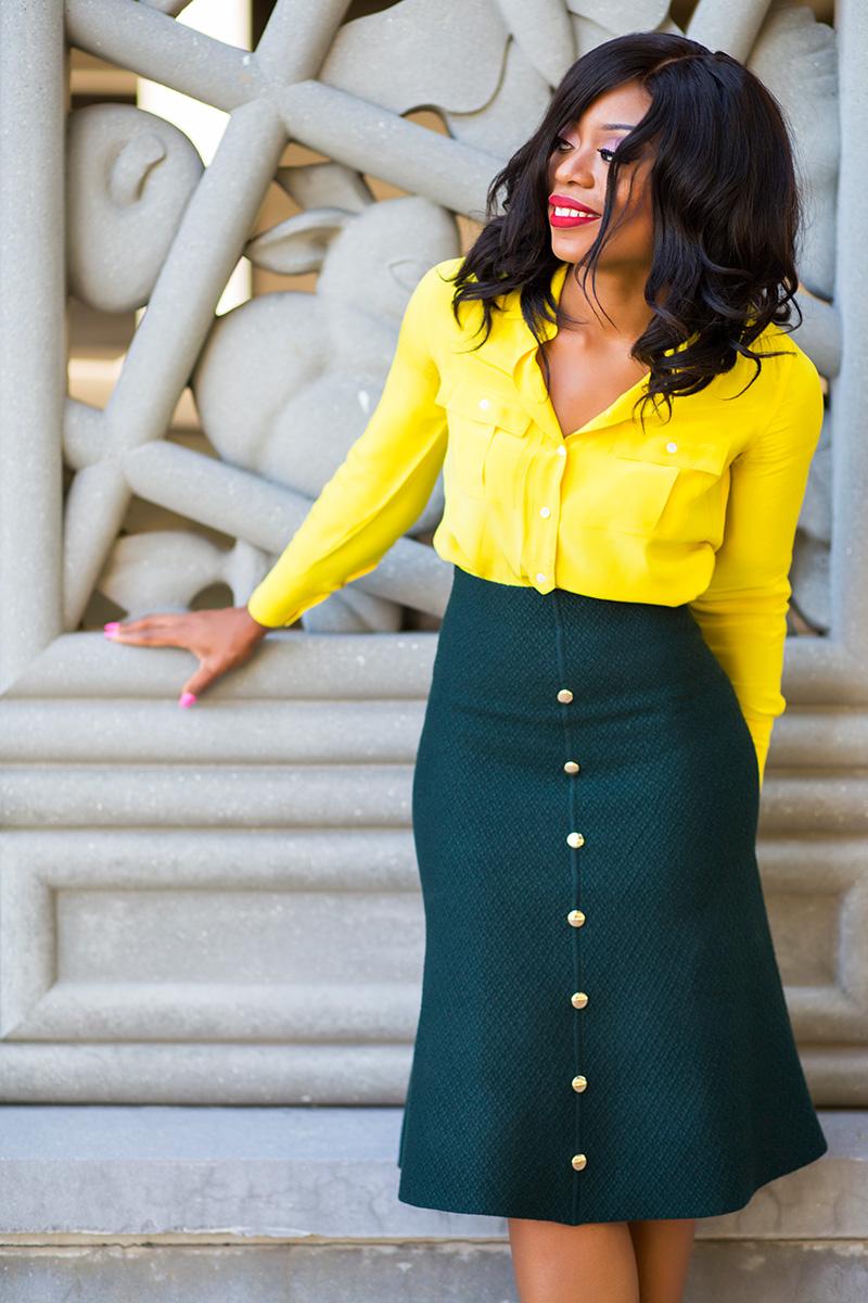 work style ideas, midi skirt, christian louboutin