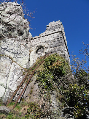 Roche Rock showing metal ladder to chapel or hermitage