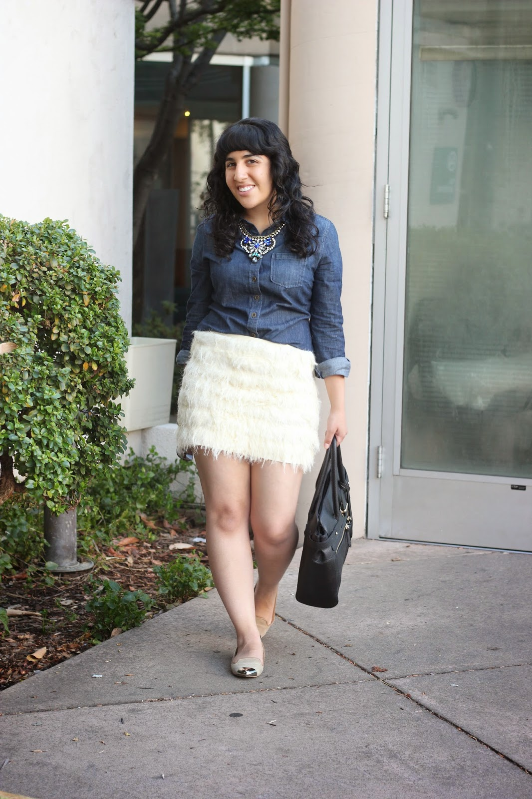 DVF Skirt and Denim Top