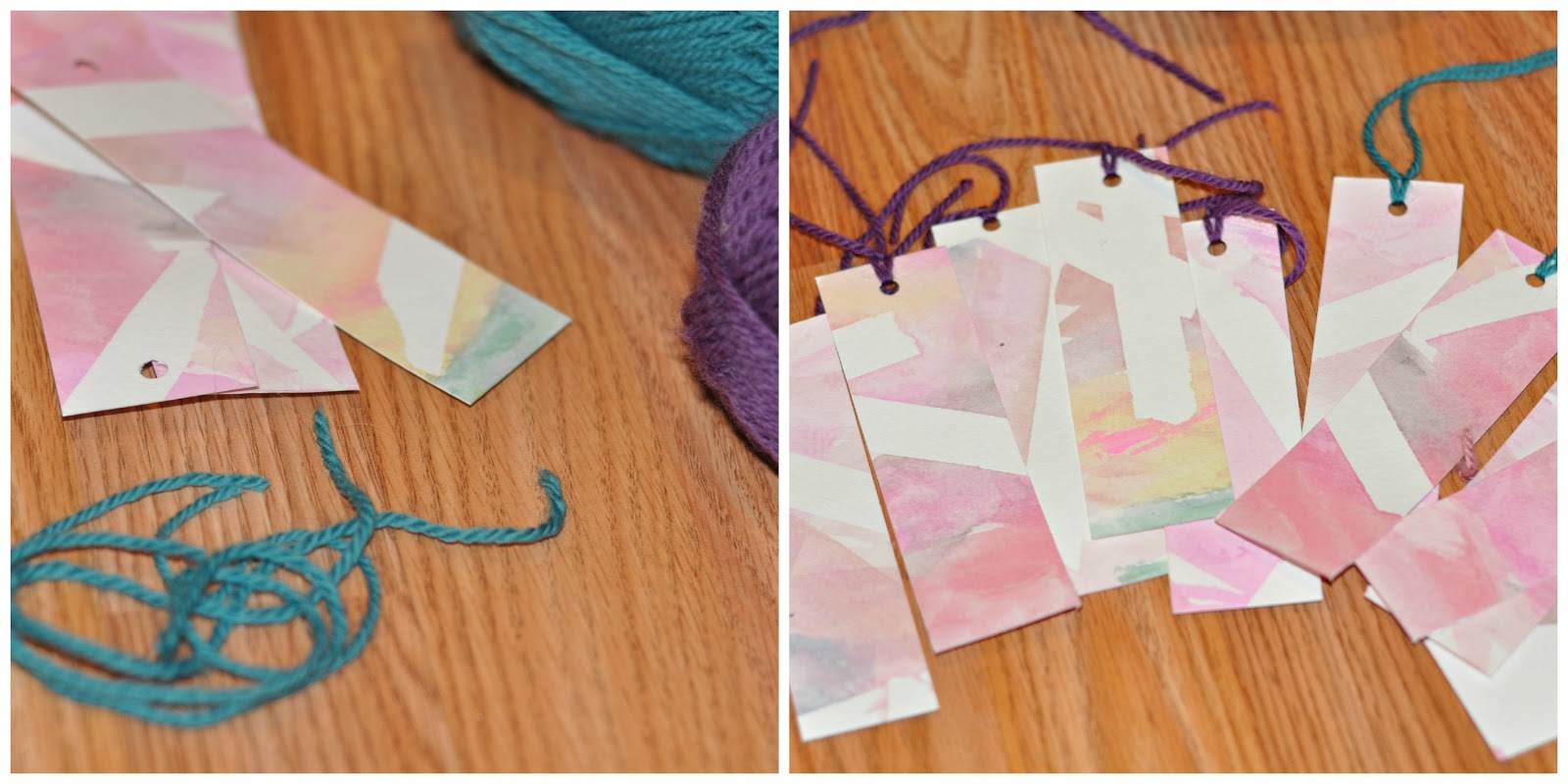 Watercolor bookmarks - Lastly I Provided A Selection Of Yarn And My Gal Chose Which Colors Went With Each Bookmark And Helped Cut It Into Strips I Tied On The Yarn Wish I D