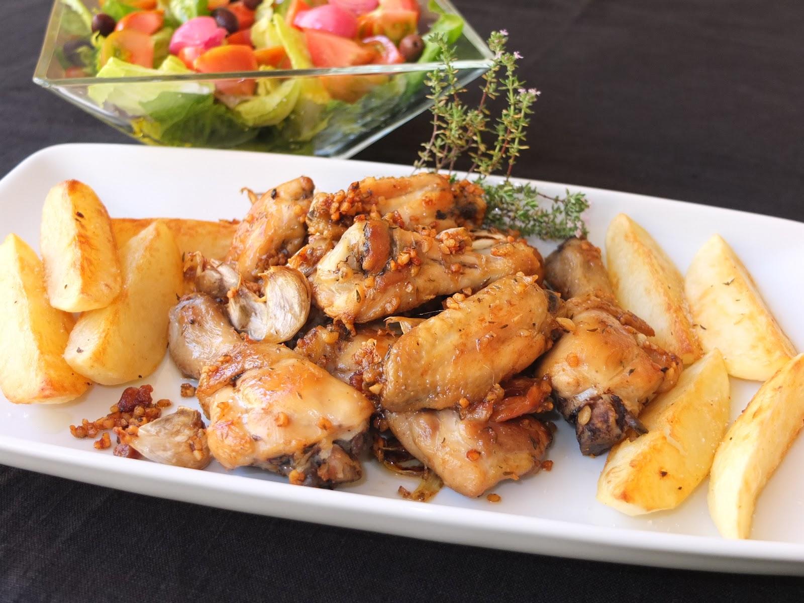 Cocinando con lola garc a pollo al ajillo con patatas - Cocinar pollo al ajillo ...