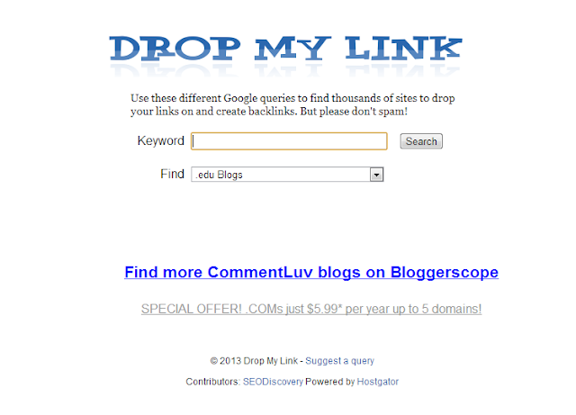 find keywordluv enabled blogs for commenting