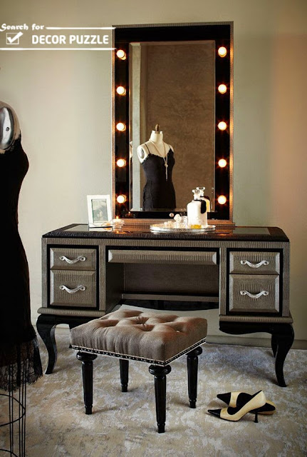 luxury gray classic dressing tables, dressing table mirror lights