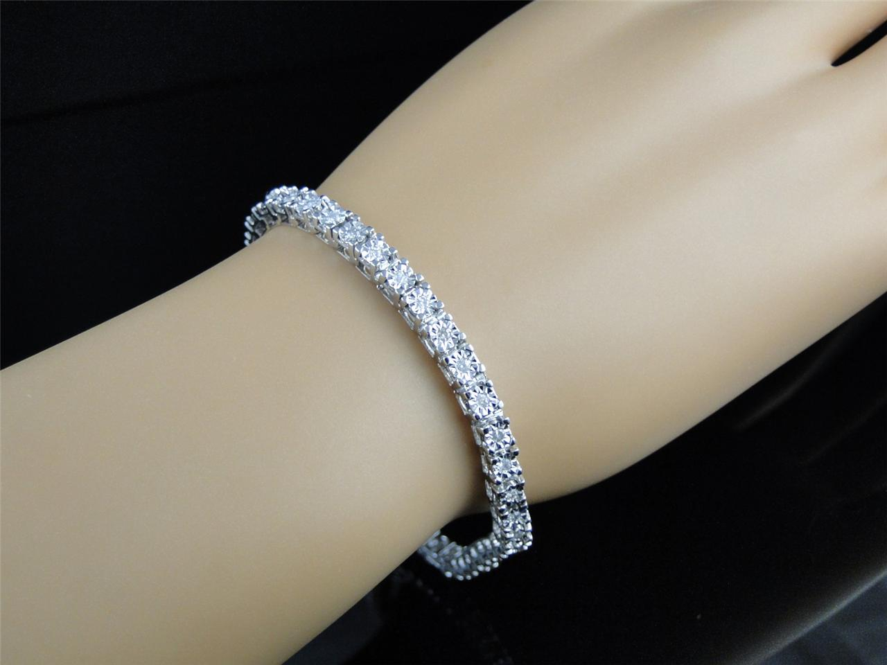 If This Bracelet Is Too For The Wrist We Recommend A Smaller Version Single Row 1 4 Carat Genuine Diamond With Sterling Silver And White