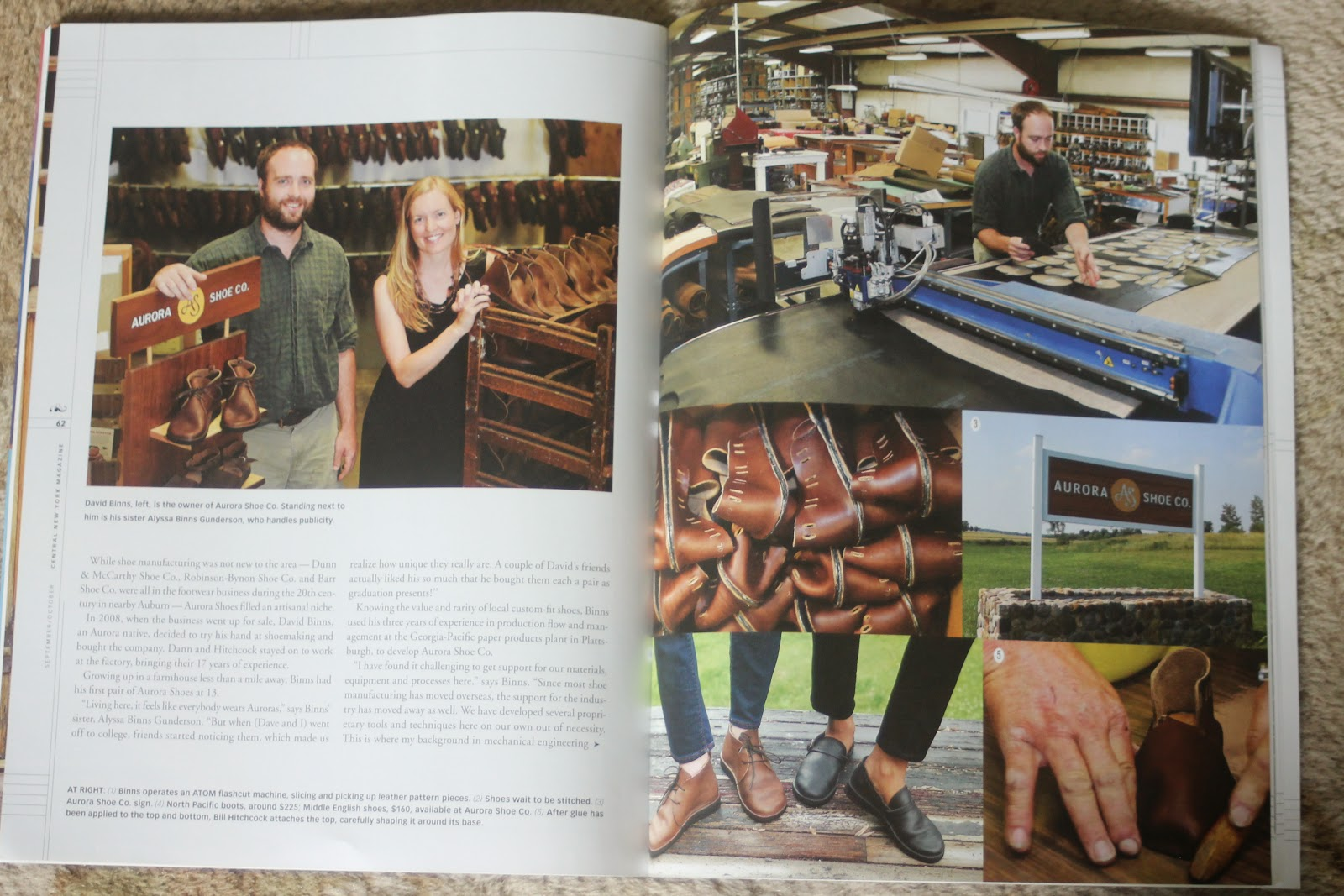 David Binns, Alyssa Binns Gunderson, shoe production