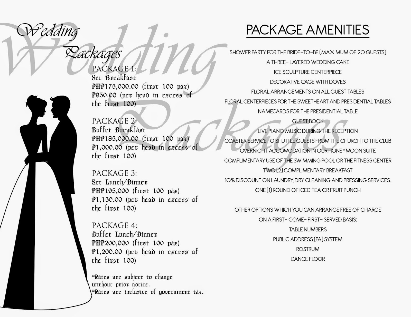 Latest BCC and I DO Wedding Package | WEDDING PACKAGES