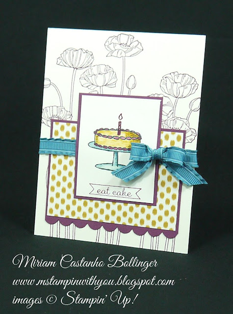 Miriam Castanho Bollinger, #mstampinwithyou, stampin up, demonstrator, pp, birthday card, bohemian dsp, sketched birthday, pleasant poppies, big day stamp set, scalloped edge border punch, su