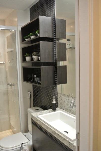 PRATELEIRAS E NICHOS NO BANHEIRO  Papo de Design -> Banheiro Pequeno Com Nicho