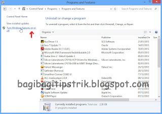Pilih Turn windows features on or off