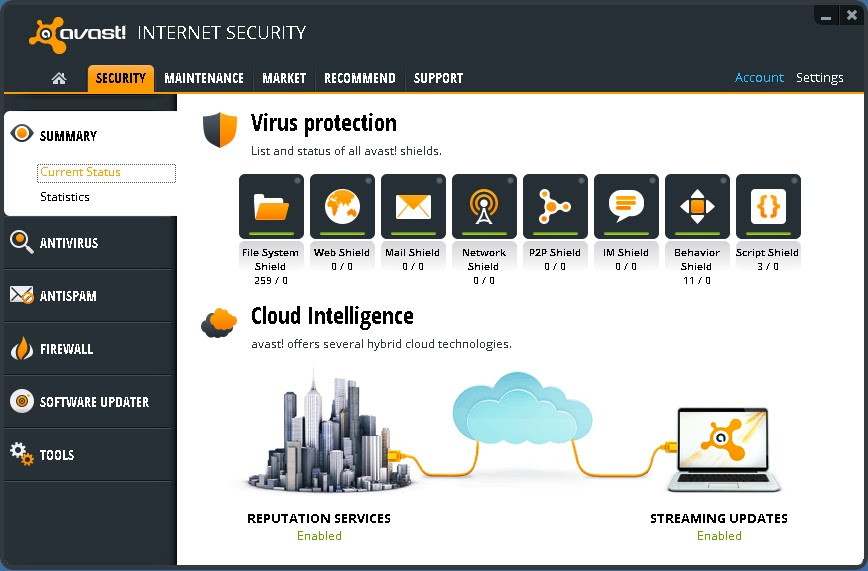 avast online security icon missing