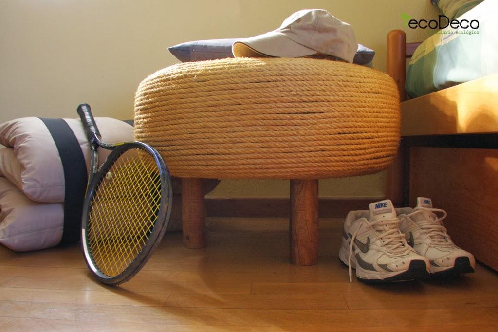 reciclar neumaticos con cuerdas para decorar tu casa