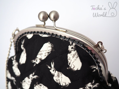 black, white, meadow, rabbit, clasp frame, bag, clutch, chain, beaded, cotton, lining, Remnant Kings, quilted, wadding, polyester, Glasgow, Scotland, ethical fashion, Tocha's World