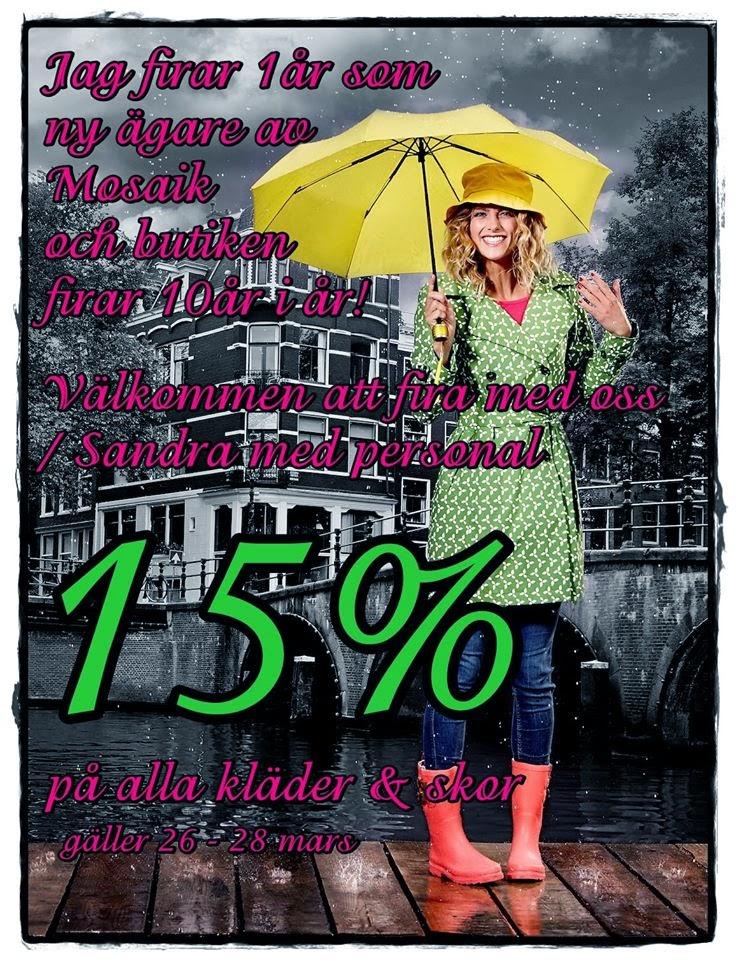 15 % på alla kläder och skor på Mosaik i Luleå