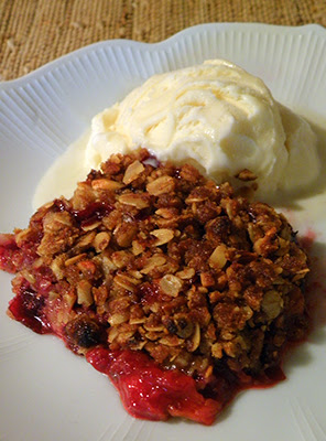 Plum Crisp with Scoop of Ice Cream