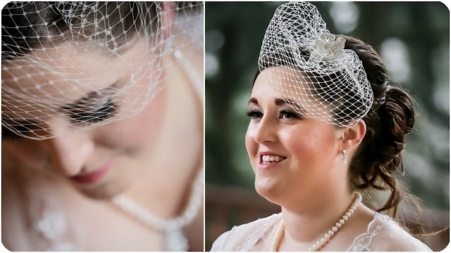 bride wearing birdcage veil