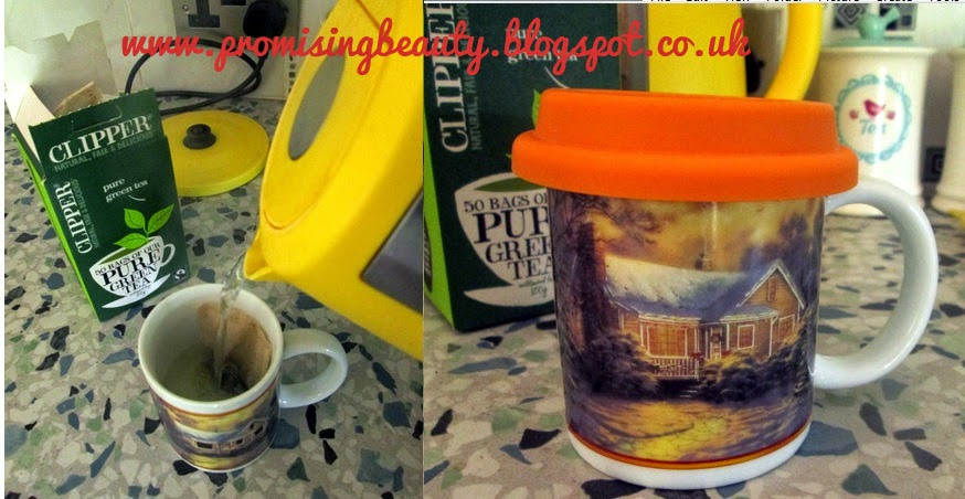 Green tea in colour changing light up mug. yellow kettle
