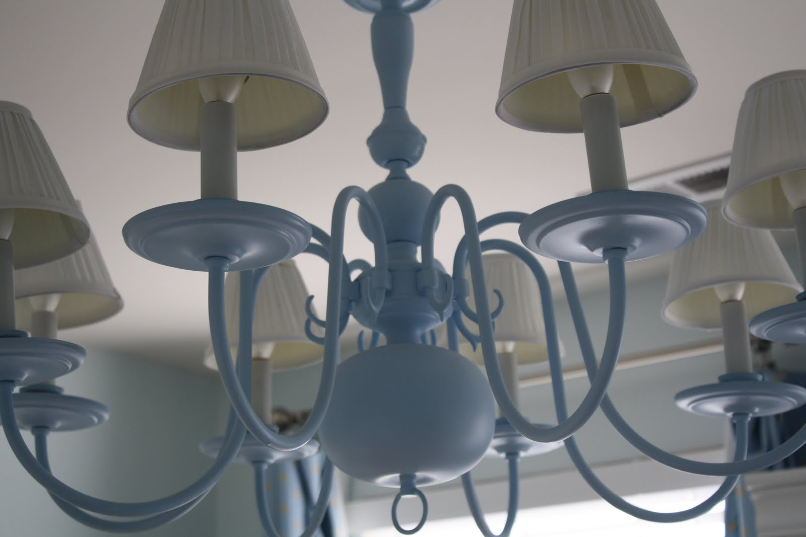 A painted chandelier i added white lampshades arubaitofo Image collections