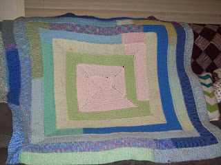 10 stitch knitted well used blanket