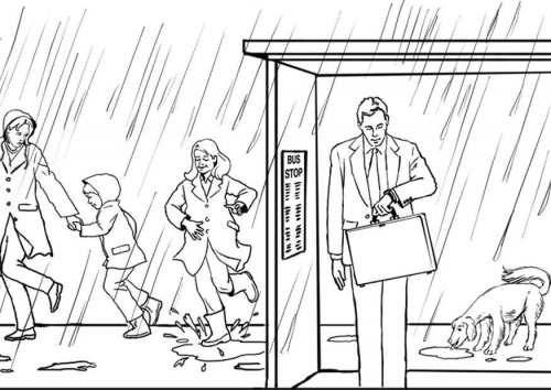COLOREA TUS DIBUJOS Dibujo de personas bajo la lluvia para colorear