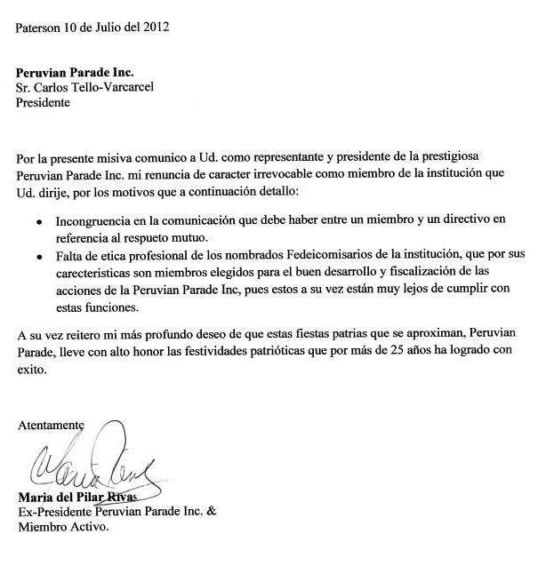 Nosotrosnj del pilar renuncia de peruvian parade for Modelo de contrato de trabajo de empleada domestica