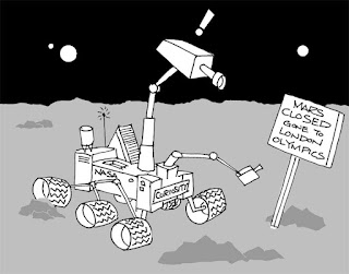 Mars Probe Curiosity cartoon by Ian Davy Brown