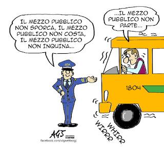 polveri sottili, trasporto pubblico, mezzi pubblici, inquinamento, mobilità sostenibile, vignetta satira