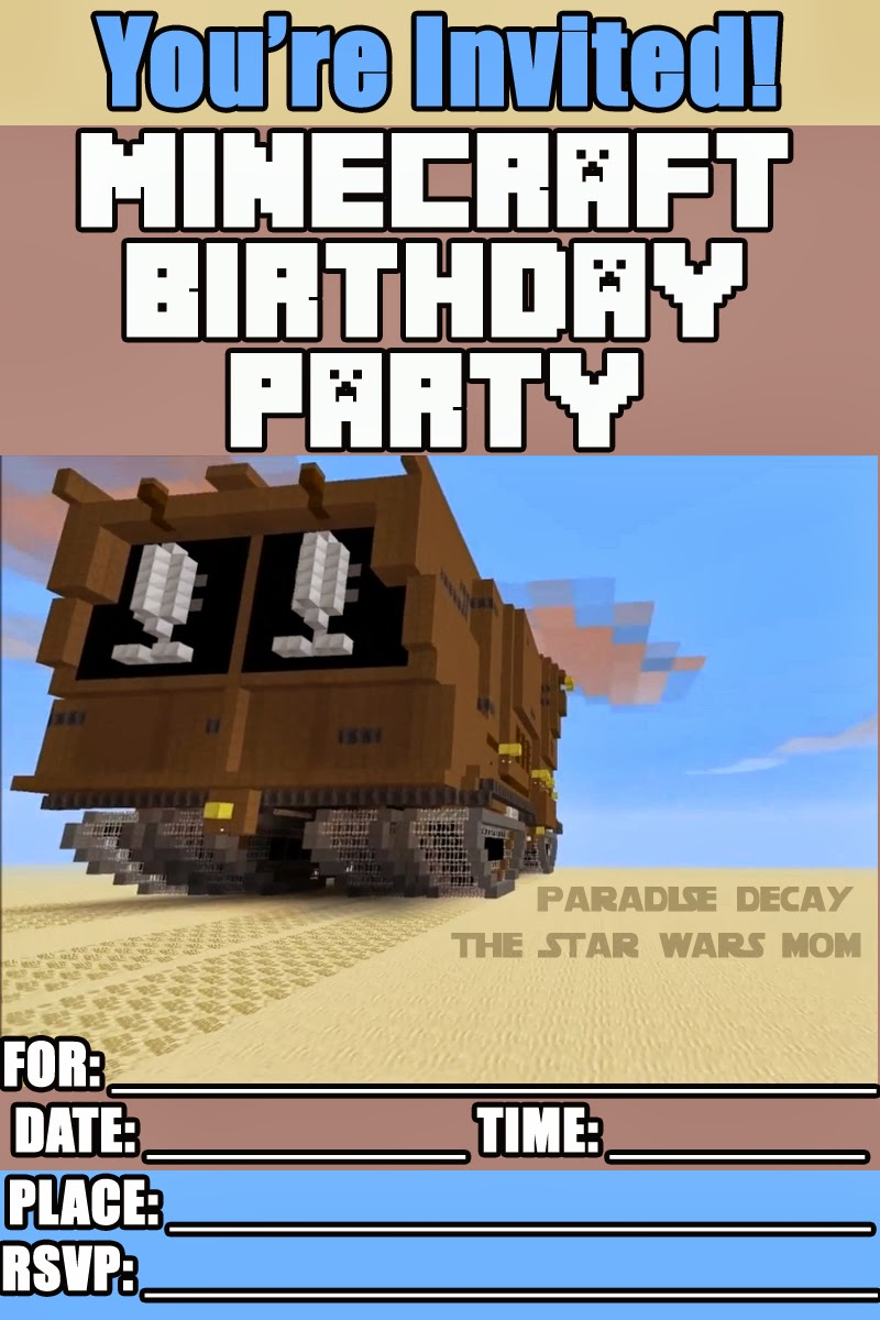 FREE Minecraft Star Wars Birthday Party Invitation.